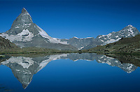 Matterhorn reflecting in Riffelsee, Zermatt, Swiss Alps, Switzerland