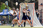 Los Angeles, CA 04/18/10 - Rachel Lee (UC Davis # 1), Nicole Crayton (UC Davis # 3) and Miriam Kolni (UC Davis # 32) in action during the 2010 Western Women Lacrosse League Championship game between UC Davis and Cal Poly SLO for third place, hosted by UCLA.  UC Davis edged Cal Poly SLO 8-7 in overtime.