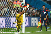 Argentina goalkeeper Sergio Romero saves the penalty of Wesley Sneijder of Netherlands during the penalty shoot out