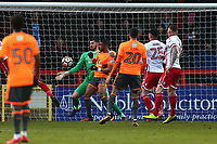 Tom King of Stevenage denies Reading a goal during Stevenage vs Reading, Emirates FA Cup Football at the Lamex Stadium on 6th January 2018