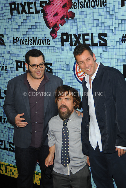 WWW.ACEPIXS.COM<br /> July 18, 2015 New York City<br /> <br /> Josh Gad, Peter Dinklage, and Adam Sandler attending the 'Pixels' Premiere at Regal E-Walk on July 18, 2015 in New York City.<br /> <br /> Please byline: Kristin Callahan/ACE <br /> <br /> <br /> Tel: (646) 769 0430<br /> e-mail: info@acepixs.com<br /> web: http://www.acepixs.com
