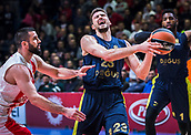 22nd March 2018, Aleksandar Nikolic Hall, Belgrade, Serbia; Turkish Airlines Euroleague Basketball, Crvena Zvezda mts Belgrade versus Fenerbahce Dogus Istanbul; Guard Marko Guduric of Fenerbahce Dogus Istanbul in action against Guard Branko Lazic of Crvena Zvezda mts Belgrade