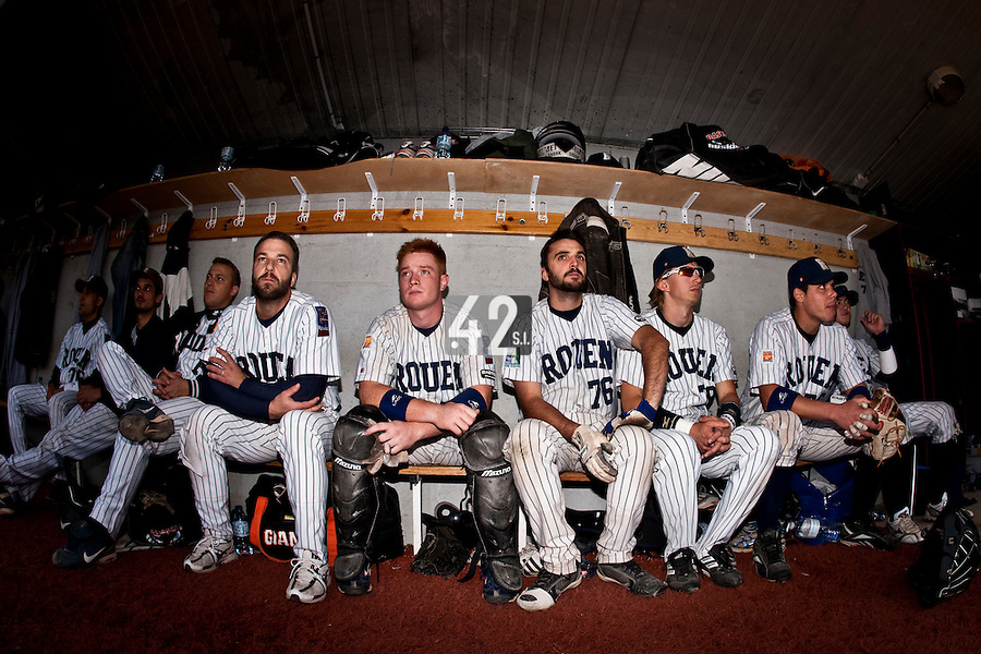 03 october 2009: Dany Scalabrini, David Gauthier, Flavien Peron, Luc Piquet, Boris Marche, of Rouen, are seen in the dugout during game 1 of the 2009 French Elite Finals won 6-5 by Rouen over Savigny in the 11th inning, at Stade Pierre Rolland stadium in Rouen, France.