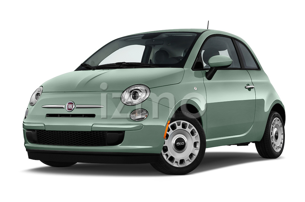 Stock pictures of low aggressive front three quarter view of a 2015 Fiat 500 POP 3 Door Hatchback Low Aggressive