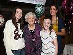 Ettie Rogers for Clonmore Togher celebrating her 90th birthday in the Glyde Inn Annagasan with her grandchildren Grace, Heather and Marie-Claire Rogers. Photo: Colin Bell/pressphotos.ie