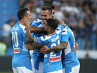 27th October 2019; Stadio Paolo Mazza, Ferrara, Emilia Romagna, Italy; Serie A Football, SPAL versus Napoli; Arkadiusz Milik of Napoli celebrates after scoreing the first goal in the 6th minute - Editorial Use