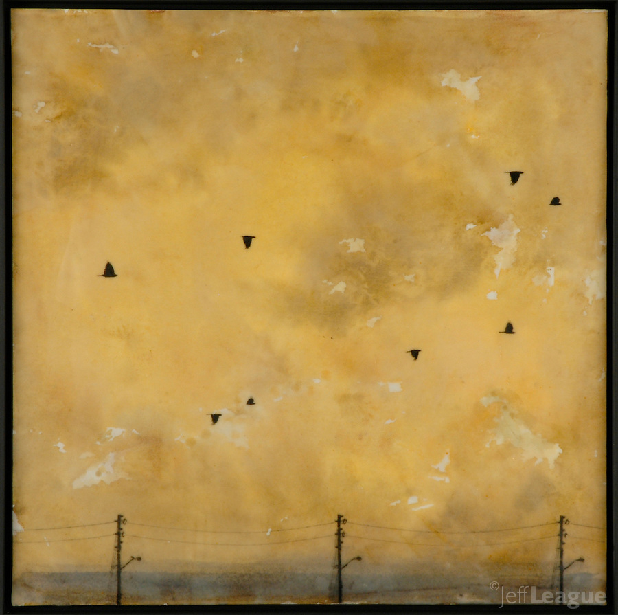 Golden autumn sky with crows in mixed media encaustic painting by Florida artist Jeff League.