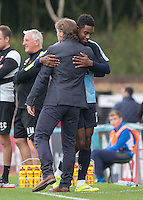 Wycombe Wanderers Manager Gareth Ainsworth embraces Jason Banton of Wycombe Wanderers as he comes off during the Sky Bet League 2 match between Wycombe Wanderers and Hartlepool United at Adams Park, High Wycombe, England on 5 September 2015. Photo by Andy Rowland.