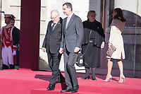 King Felipe VI of Spain and Queen Letizia of Spain receive Israeli President Reuven Rivlin and wife Nechama Rivlin at the Royal Palace  in Madrid, Spain. November 06, 2017. (ALTERPHOTOS/Borja B.Hojas)