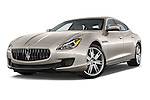 Stock pictures of low aggressive front three quarter view of a 2014 Maserati Quattroporte SQ4 4 Door Sedan Low Aggressive