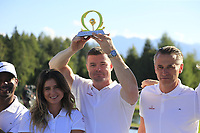 Rugby star Brian O'Driscoll (IRL) wins the Omega Celebrity Masters putting challenge on the 18th green at the end of Saturday's Round 3 of the 2018 Omega European Masters, held at the Golf Club Crans-Sur-Sierre, Crans Montana, Switzerland. 8th September 2018.<br /> Picture: Eoin Clarke | Golffile<br /> <br /> All photos usage must carry mandatory copyright credit (&copy; Golffile | Eoin Clarke)