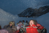 Rosie Baker, 13, of Worchester, England, screams as she flies down the tubing run with friends at the Copper Mountain ski resort in Colorado, Thursday, Dec. 13, 2007. Copper Mountain hosts many features just for young skiers. (Kevin Moloney for the New York Times)