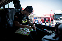 Esteban Chaves (COL/Mitchelton-Scott) completing his Panini Giro2019 sticker book in the teambus ahead of his final iTT<br /> <br /> Stage 21 (ITT): Verona to Verona (17km)<br /> 102nd Giro d'Italia 2019<br /> <br /> ©kramon