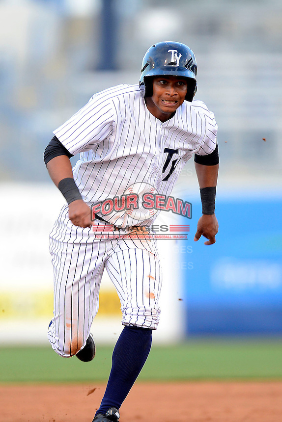 Tampa Yankees outfielder Eduardo Sosa #17 during a game against the Lakeland Flying Tigers at Steinbrenner Field on April 6, 2013 in Tampa, Florida.  Lakeland defeated Tampa 8-3.  (Mike Janes/Four Seam Images)