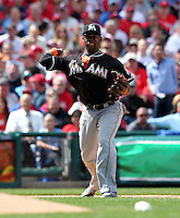 Miami Marlins third baseman Hanley Ramirez #2 throws to first during a game against the Philadelphia Phillies at Citizens Bank Park on April 9, 2012 in Philadelphia, Pennsylvania.  Miami defeated Philadelphia 6-2.  (Mike Janes/Four Seam Images)