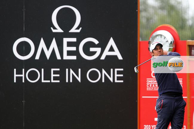 Matteo Manassero (ITA) on the 13th on Day 2 of the Omega European Masters 2012, Golf Club Crans-Sur-Sierre, Crans Montana, Switzerland, 31/8/12...(Photo Jenny Matthews/www.golffile.ie)