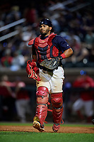 Lowell Spinners catcher Alberto Schmidt (20) during a game against the Vermont Lake Monsters on August 25, 2018 at Edward A. LeLacheur Park in Lowell, Massachusetts.  Vermont defeated Lowell 4-3.  (Mike Janes/Four Seam Images)