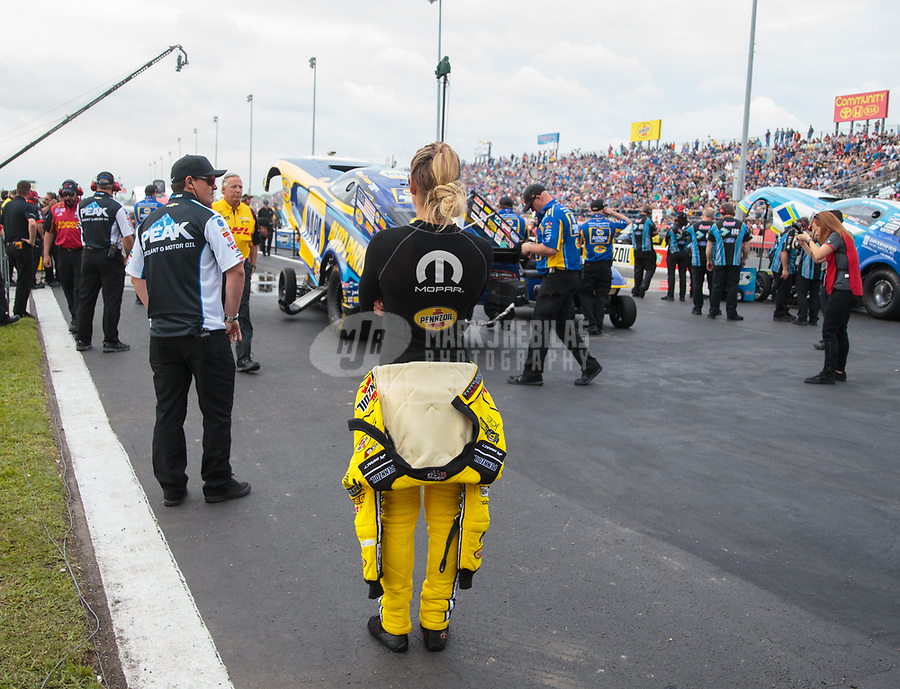 Apr 12, 2019; Baytown, TX, USA; NHRA top fuel driver Leah Pritchett during qualifying for the Springnationals at Houston Raceway Park. Mandatory Credit: Mark J. Rebilas-USA TODAY Sports
