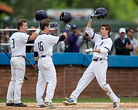 NWA Democrat-Gazette/BEN GOFF @NWABENGOFF<br /> Beau Stuckey (3), Josh Hart (16) and Jeff Sinacore, of Fayetteville celebrate after Sinacore hit a solo home run in the 3rd inning vs Springdale Har-Ber Friday, May 10, 2019, during the class 6A state baseball tournament at Veterans Park in Rogers.