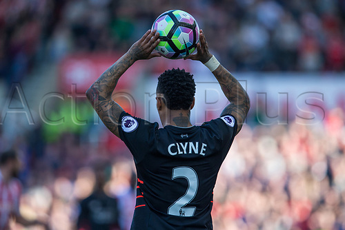 April 8th 2017, bet365 Stadium, Stoke on Trent, Staffordshire, England; EPL Premier League football, Stoke City versus Liverpool; Liverpool's Nathaniel Clyne takes a throw in