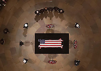 Congressional leaders pause as Former President George H. W. Bush lies in state in the U.S. Capitol Rotunda Monday, Dec. 3, 2018, in Washington. <br /> CAP/MPI/RS<br /> &copy;RS/MPI/Capital Pictures