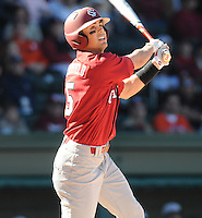 USC third baseman Whit Merrifield (5) hits during a game between the Clemson Tigers and South Carolina Gamecocks Saturday, March 6, 2010, at Fluor Field at the West End in Greenville, S.C. Photo by: Tom Priddy/Four Seam Images