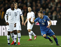 Football: Euro 2020 Group J qualifying football match Italy vs Finland at the Friuli Stadium in Udine on march  23, 2019<br /> Italy's Nicolò Barella (r) celebrates after scoring during the Euro 2020 qualifying football match between Italy and Finland at the Friuli Stadium in Udine, on march 23, 019<br /> UPDATE IMAGES PRESS/Isabella Bonotto