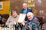 Mayoral Recognition for Michael. Tralee Mayor Cllr Terry O'Brien presented Michael Culloty a plaque in recognition of 25 Year service in providing public Transport in Tralee Town with Tralee Peoples Bus Service. Pictured also Michael Scannell