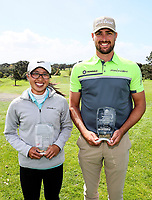 Caryn Khoo and Daniel Pearce after winning the Charles Tour Augusta Funds Management Ngamotu Classic, Ngamotu Golf Course, New Plymouth, New Zealand, Sunday 15 October 2017.  Photo: Simon Watts/www.bwmedia.co.nz