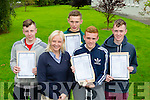 Killarney Community College Eric O'Donoghue, Stella Loughnane vice Principal Eoin O'Meara, Brian Fitzgerald and Conor Harrington after receiving their Leaving Cert results on Wednesday morning
