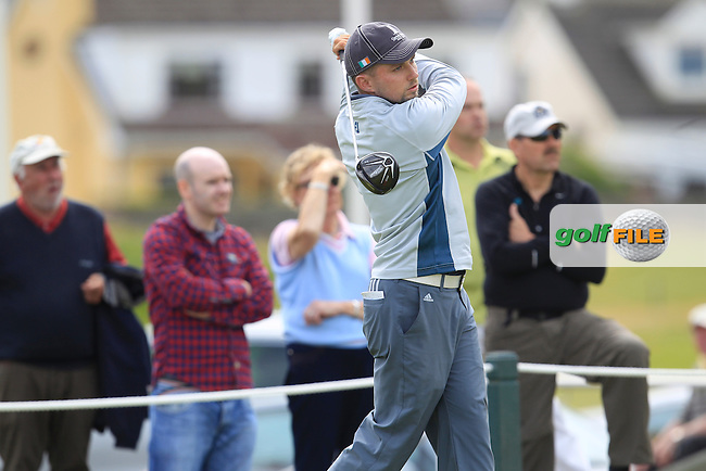 Keith Egan (Carton House) on the 1st tee during Matchplay Round 4 of the South of Ireland Amateur Open Championship at LaHinch Golf Club on Saturday 25th July 2015.<br /> Picture:  Golffile | TJ Caffrey