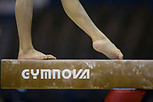 21st March 2018, Arena Birmingham, Birmingham, England; Gymnastics World Cup, day one, womens competition; A Gymnasts feet on the Balance Beam during  Training
