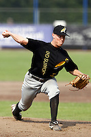 03 September 2011: Jurrian Koks of L&D Amsterdam Pirates pitches against Vaessen Pioniers during game 1 of the 2011 Holland Series won 5-4 in inning number 14 by L&D Amsterdam Pirates over Vaessen Pioniers, in Hoofddorp, Netherlands.