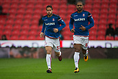 30th September, bet365 Stadium, Stoke-on-Trent, England; EPL Premier League football, Stoke City versus Southampton; Stoke City's Ramadan Sobhi and Glen Johnson during the warm up