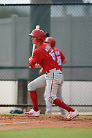 Philadelphia Phillies left fielder Mickey Moniak (15) during an Instructional League game against the Toronto Blue Jays on September 30, 2017 at the Carpenter Complex in Clearwater, Florida.  (Mike Janes/Four Seam Images)