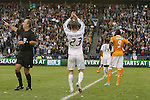 01 December 2012: Los Angeles' David Beckham (ENG) (23) turns and applauds the crowd as he is subbed out of the game in the last minute. The Los Angeles Galaxy played the Houston Dynamo at the Home Depot Center in Carson, California in MLS Cup 2012. Los Angeles won the game 3-1.