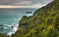 Sunset over rugged coastline in South Westland, West Coast, South Westland, UNESCO World Heritage Area, South Island, New Zealand, NZ