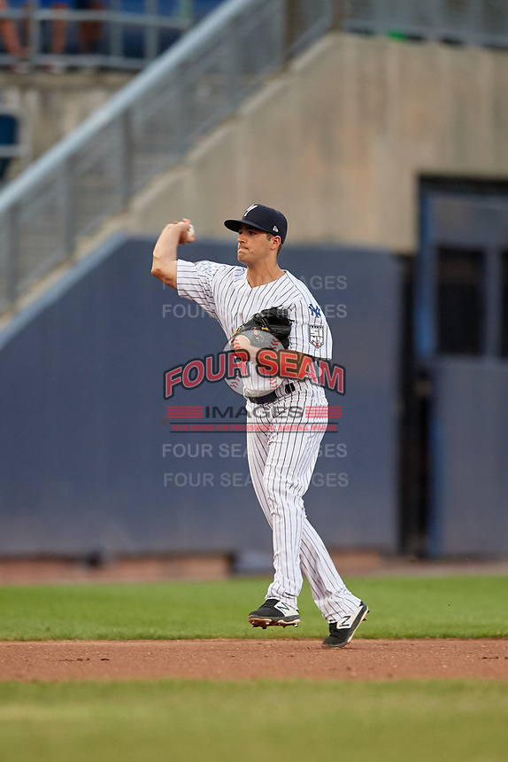 Staten Island Yankees Josh Smith (26) throws to third base during a NY-Penn League game against the Aberdeen Ironbirds on August 22, 2019 at Richmond County Bank Ballpark in Staten Island, New York.  Aberdeen defeated Staten Island in a rain shortened game.  (Mike Janes/Four Seam Images)