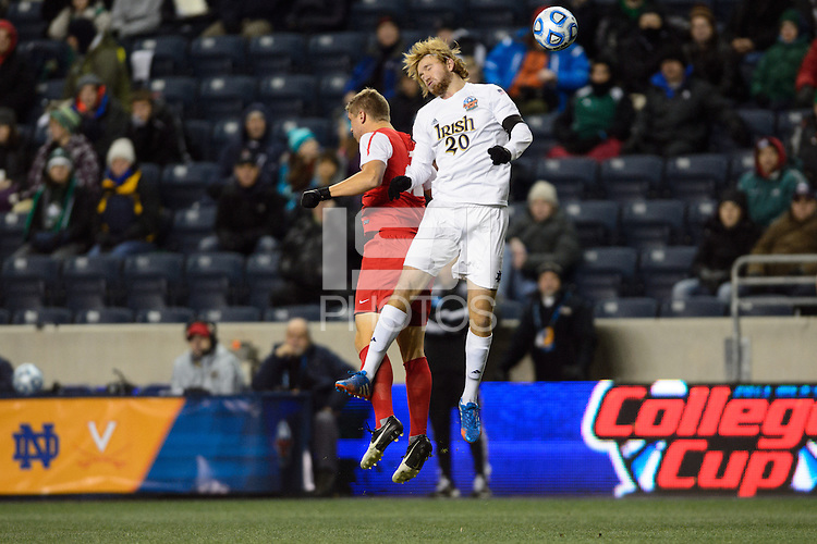 Notre Dame Fighting Irish defender Grant Van De Casteele (20). The Notre Dame Fighting Irish defeated the New Mexico Lobos 2-0 during the semifinals of the 2013 NCAA division 1 men's soccer College Cup at PPL Park in Chester, PA, on December 13, 2013.