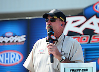Sept. 22, 2012; Ennis, TX, USA: NHRA announcer Alan Reinhart during qualifying for the Fall Nationals at the Texas Motorplex. Mandatory Credit: Mark J. Rebilas-