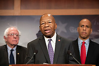 United States Representative Elijah Cummings (Democrat of Maryland) makes remarks at a press conference in the US Capitol in Washington, DC announcing a Democratic package of three bills to be introduced in the US Senate and US House to control prescription drug prices on Thursday, January 10, 2019.  Standing behind Representative Cummings is United States Senator Bernie Sanders (Independent of Vermont), left, and United States Senator Cory Booker (Democrat of New Jersey), right.<br /> Credit: Ron Sachs / CNP /MediaPunch
