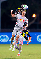 16th July 2020, Orlando, Florida, USA;  Columbus Crew midfielder Darlington Nagbe (6) heads the ball during the MLS Is Back Tournament between the Columbus Crew SC versus New York Red Bulls on July 16, 2020 at the ESPN Wide World of Sports, Orlando FL.