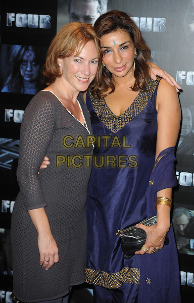 Tanya Franks and Shobna Gulati.UK premiere of 'Four' at The Empire Cinema - Arrivals, London, England..October 10th, 2011.half length blue purple dress top .CAP/WIZ.© Wizard/Capital Pictures.