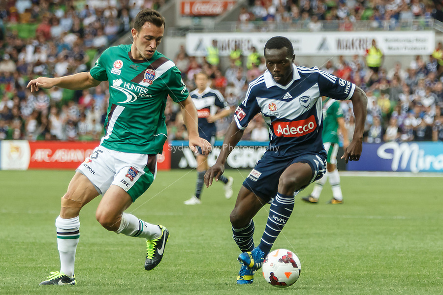 Adama TRAORE of the Victory controls the ball in the round nine match between Melbourne Victory and the Newcastle Jets in the Australian Hyundai A-League 2013-24 season at AAMI Park, Melbourne, Australia. Photo Sydney Low/Zumapress<br /> <br /> This image is not for sale on this web site. Please visit zumapress.com for licensing