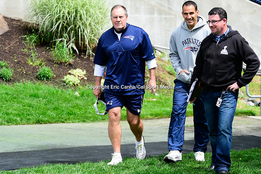 June 7, 2017: New England Patriots head coach Bill Belichick walks to a press conference at the New England Patriots mini camp held on the practice field at Gillette Stadium, in Foxborough, Massachusetts. Eric Canha/CSM