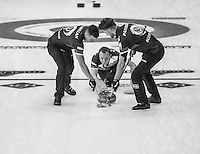 Glasgow. SCOTLAND.  Scotland's &quot;Skip&quot;Tom BREWSTER releases, the &quot;Stone&quot; during the &quot;Round Robin&quot; Games. Le Gruy&egrave;re European Curling Championships. 2016 Venue, Braehead  Scotland<br /> Monday  21/11/2016<br /> <br /> [Mandatory Credit; Peter Spurrier/Intersport-images]