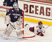 Elaine Chuli (UConn - 29), Megan Keller (BC - 4) - The Boston College Eagles defeated the visiting UConn Huskies 4-0 on Friday, October 30, 2015, at Kelley Rink in Conte Forum in Chestnut Hill, Massachusetts.