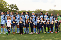 Piscataway, NJ, May 7, 2016.  The Sky Blue starting eleven stand during the national anthem  prior to the game between Sky Blue FC and the Western New York Flash.  The Western New York Flash defeated Sky Blue FC, 2-1, in a National Women's Soccer League (NWSL) match at Yurcak Field.