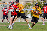 Los Angeles, CA 02/15/14 - Jack Gilchrist (USC #11), Kelbie Ockey (Utah #14) and Gil Cassagne (USC #23) in action during the Utah versus USC game as part of the 2014 Pac-12 Shootout at UCLA.  Utah defeated USC 10-9.