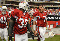 Aug 18, 2007; Glendale, AZ, USA; Arizona Cardinals quarterback Matt Leinart (7) talks with running back Edgerrin James (32) against the Houston Texans at University of Phoenix Stadium. Mandatory Credit: Mark J. Rebilas-US PRESSWIRE Copyright © 2007 Mark J. Rebilas